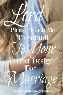 Did you know that it i God's perfect design for the wife to submit to her own husband.? Join with us as we do a Bible study in the book of Titus and learn about God's perfect design for marriage.