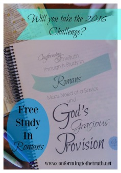 All men are in need of a Savior. The book of Romans teaches this truth along with the truth that God in Christ has sent His grace. Please follow Conforming To The Truth as we do an inductive Bible study in Romans. These lessons are free to you.